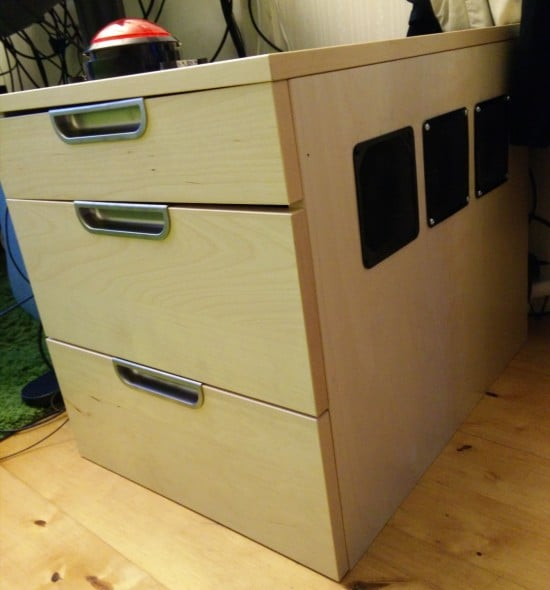 gaming pc in drawer unit