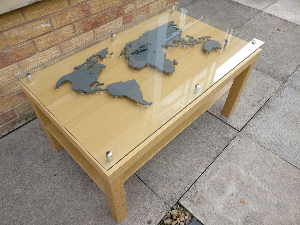 back-lit world map coffee table - IKEA LACK hack