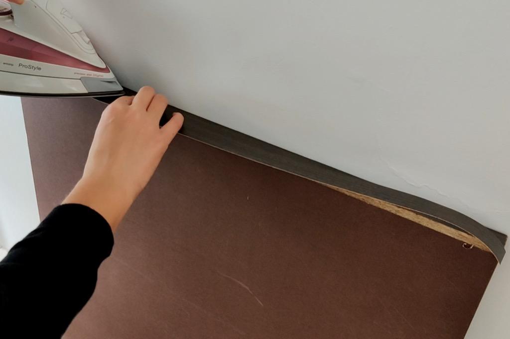 attach edge banding detachable portable kitchen island, IKEA hack