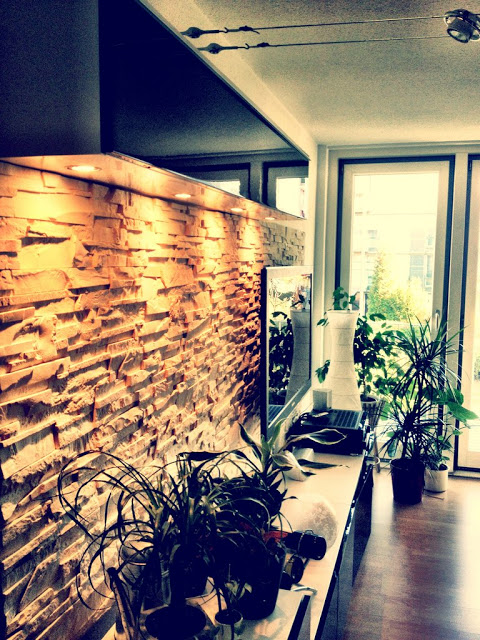 BESTÅ Media Center with stone wall panel